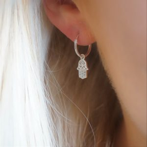 sterling silver hamsa small hoop earrings
