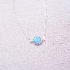 Sterling Silver opal ocean blue chain bracelet