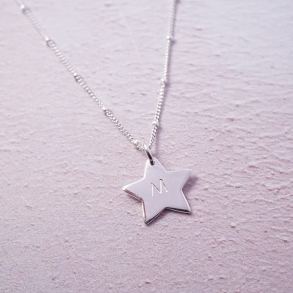 Sterling silver star initial stamped necklace