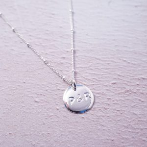 Sterling Silver initial duo stamped necklace