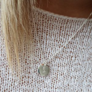 sterling silver initial star stamped necklace