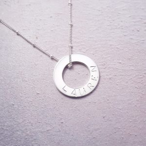 Sterling silver hand stamped washer necklace