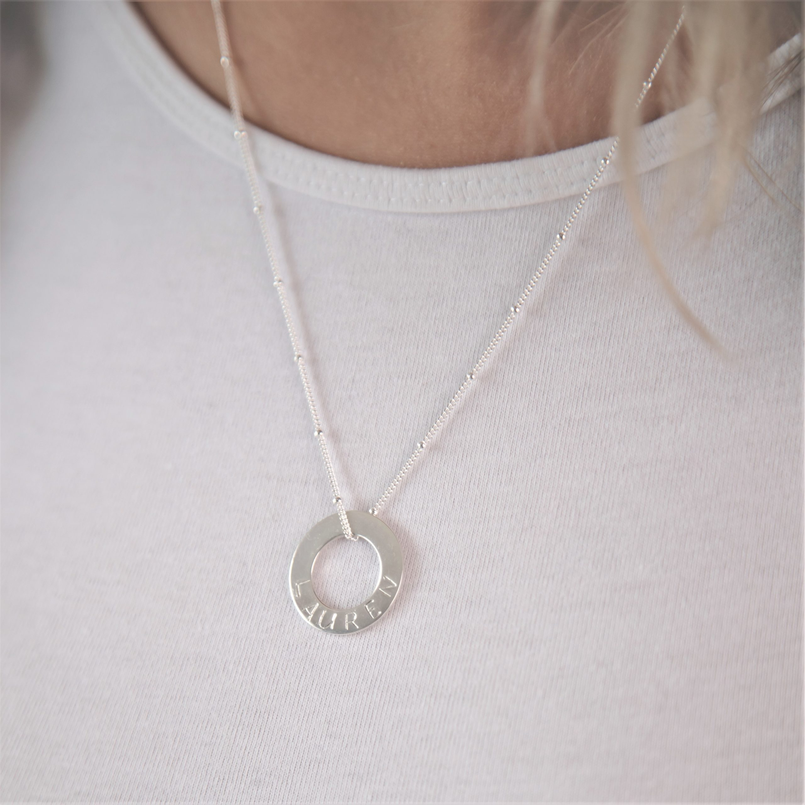sterling silver necklace with stamped washer disc
