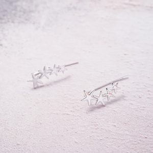 Sterling silver star ear climbers