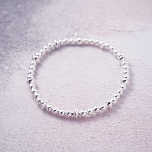 sterling silver stack stretch bracelet
