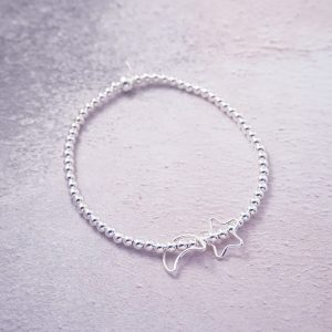 sterling silver star and moon stretch bracelet