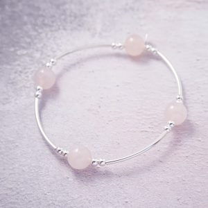 Sterling silver and rose quartz noodle bracelet