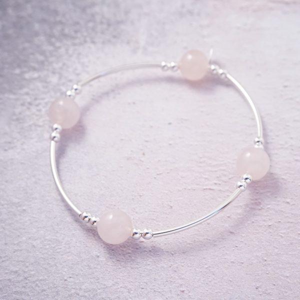 Sterling silver and rose quartz noodle bracelet