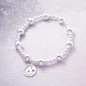 sterling silver chunky bracelet with moon and star