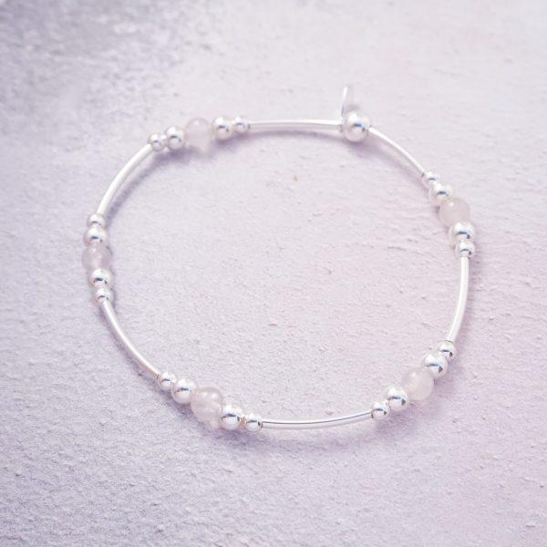 sterling silver rose quartz stretch noodle bracelet