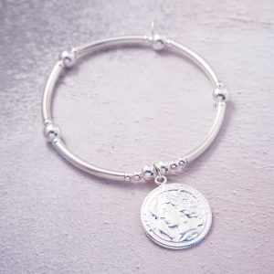 Sterling silver chunky roman coin noodle bracelet