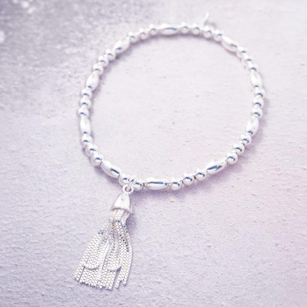 sterling silver tassel stretch bracelet
