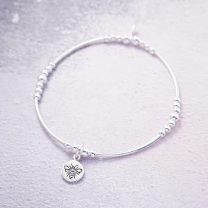 sterling silver bee stretch noodle bracelet