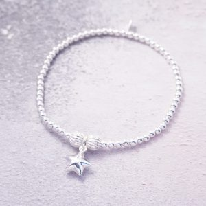 sterling silver stretch bracelet with star