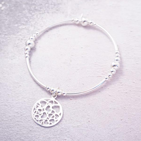 Sterling silver hearts noodle bracelet