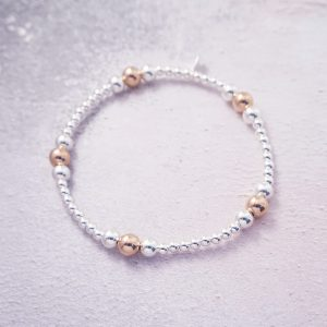 sterling silver and rose gold stack bracelet