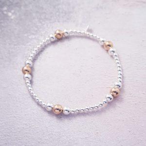 sterling silver and rose gold stack bracelet