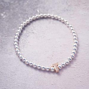 sterling silver rose gold initial stretch bracelet