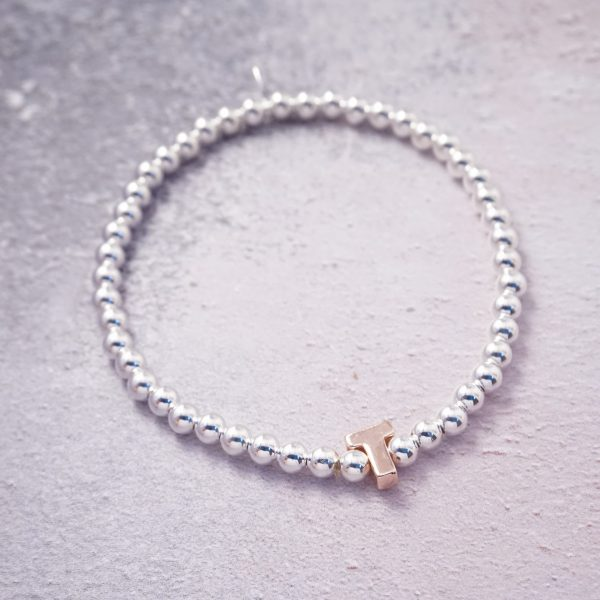 sterling silver rose gold initial stretch bracelet