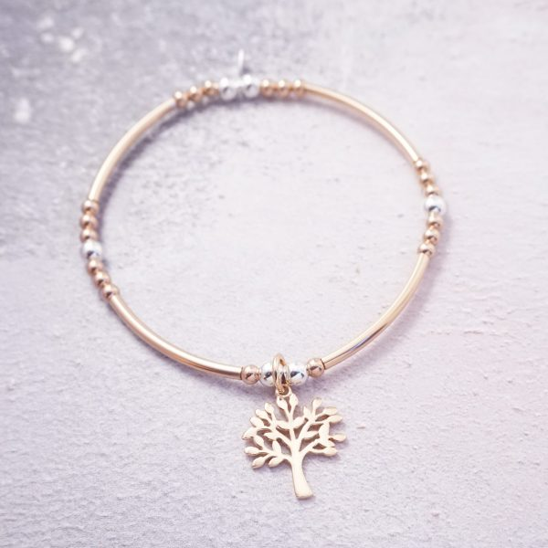 rose gold stretch noodle bracelet tree of life