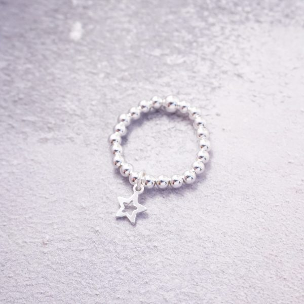 sterling silver star stretch ring