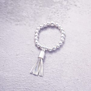 sterling silver tassel stretch ring