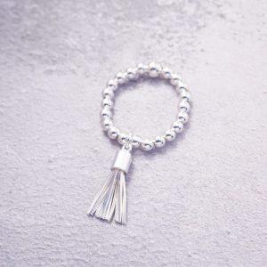 sterling silver tassel stretch ring