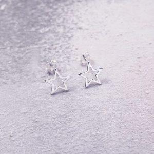 sterling silver star stud earrings