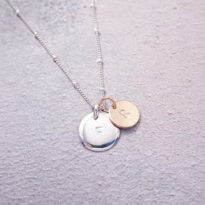 Sterling silver and rose gold initial necklace