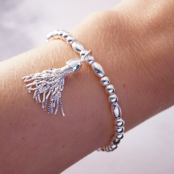sterling silver box chain tassel bracelet