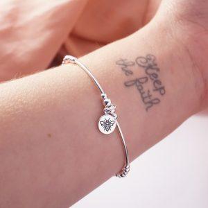 sterling silver bee disc noodle bracelet