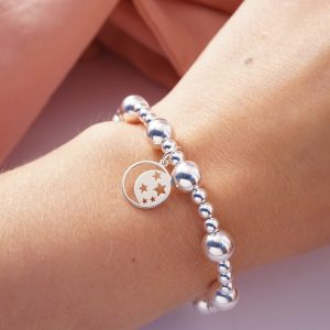 Sterling silver bracelet with astronomy disc