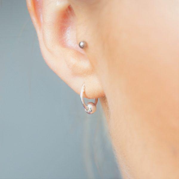Sterling silver small creole hoop earrings