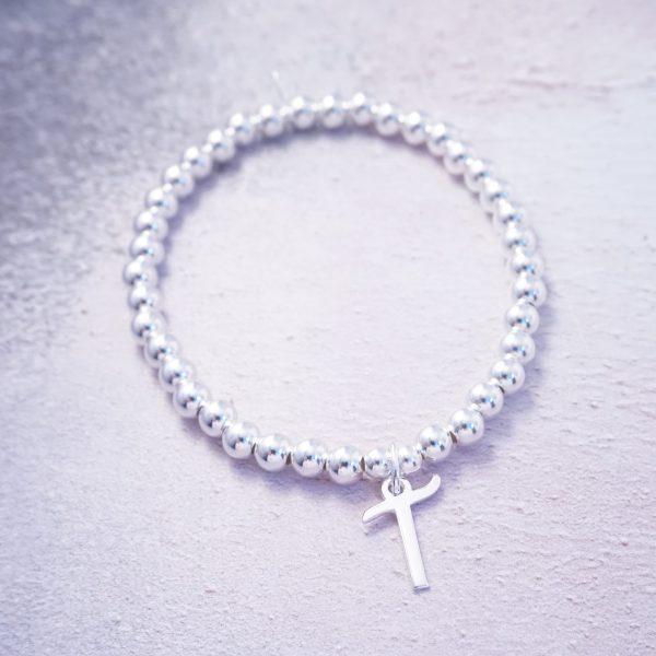sterling silver script initial stretch bracelet