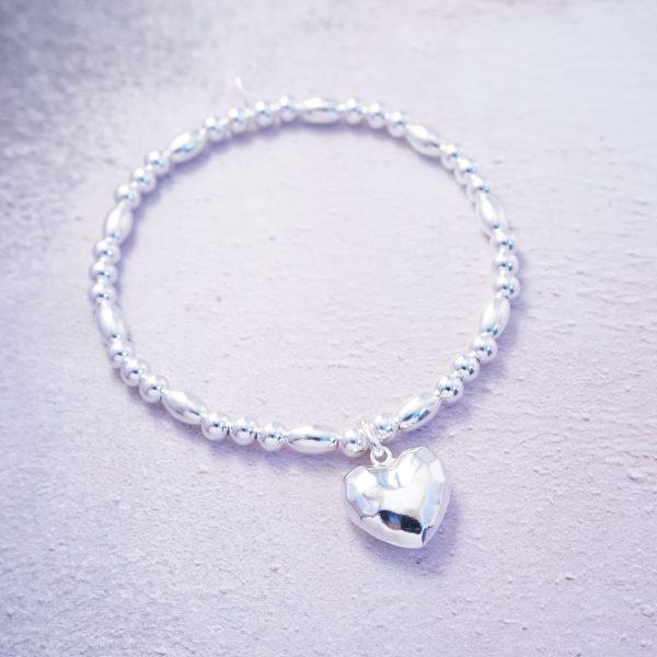 sterling silver hammered heart stretch bracelet