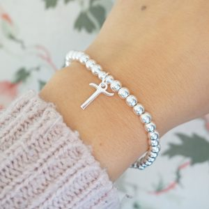sterling silver bracelet with script initial charm