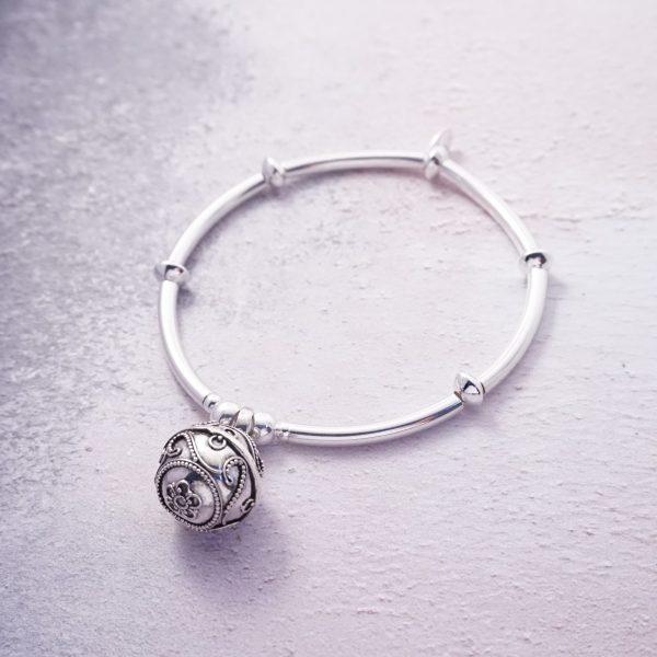 sterling silver chunky noodle bali harmony ball bracelet