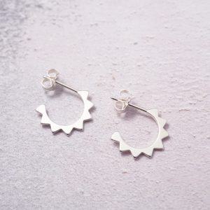 sterling silver sunshine hoop stud earrings