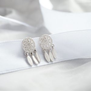 Sterling silver dreamcatcher stud earrings