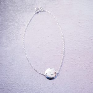 Sterling silver initial tag chain bracelet