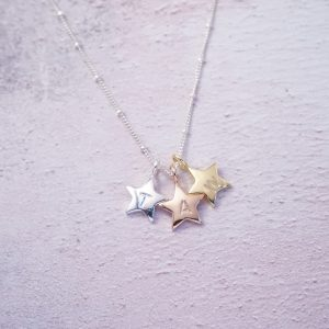 sterling silver rose gold and gold initial stamped stars necklace