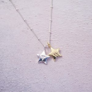 Sterling silver and gold initial stamped star necklace