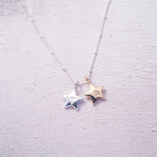 sterling silver and rose gold initial stamped stars necklace