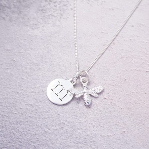sterling silver necklace with initial and bumble bee charm