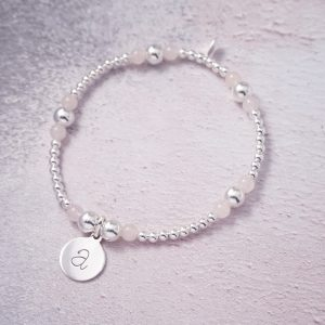 sterling silver and rose quartz initial bracelet