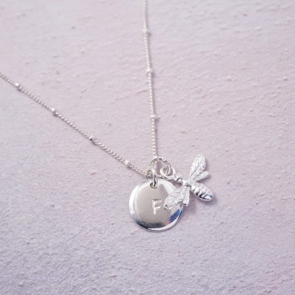 sterling silver initial and bee necklace hand stamped
