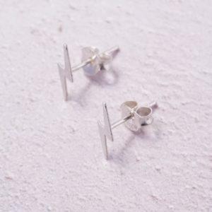 sterling silver lightening bolt stud earrings