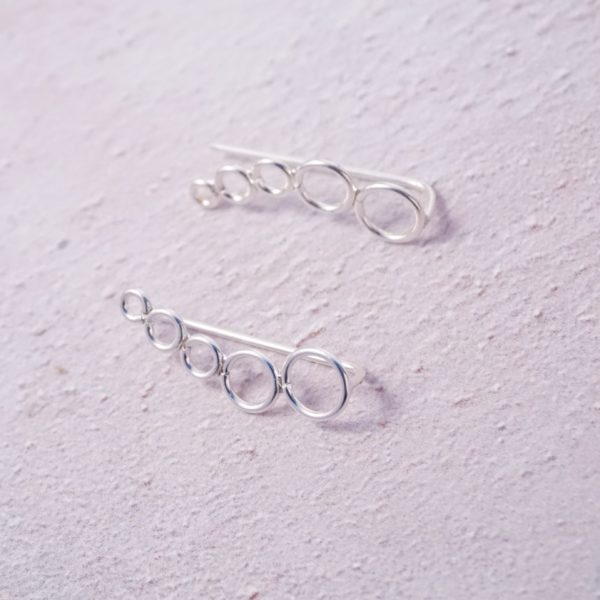 sterling silver circle climber earrings