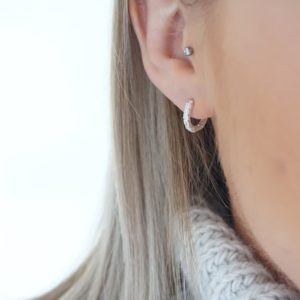 silver silver huggie hoop earrings
