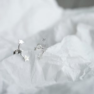 sterling silver star cluster stud earrings
